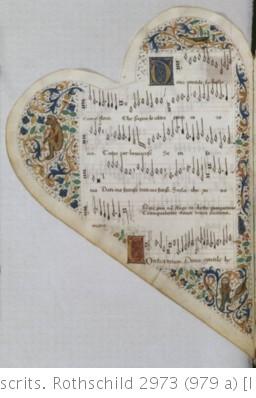 RECUEIL de Chansons italiennes et françaises. Ms. sur vélin de 72 f., en forme de cœur (fin du XVe siècle), velours rouge, tr. dor. miniatures et encadrements.