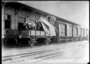 Chemin de fer de Bagdad utilisé par les Anglais (un canon sur un wagon)  Agence Rol. 1918