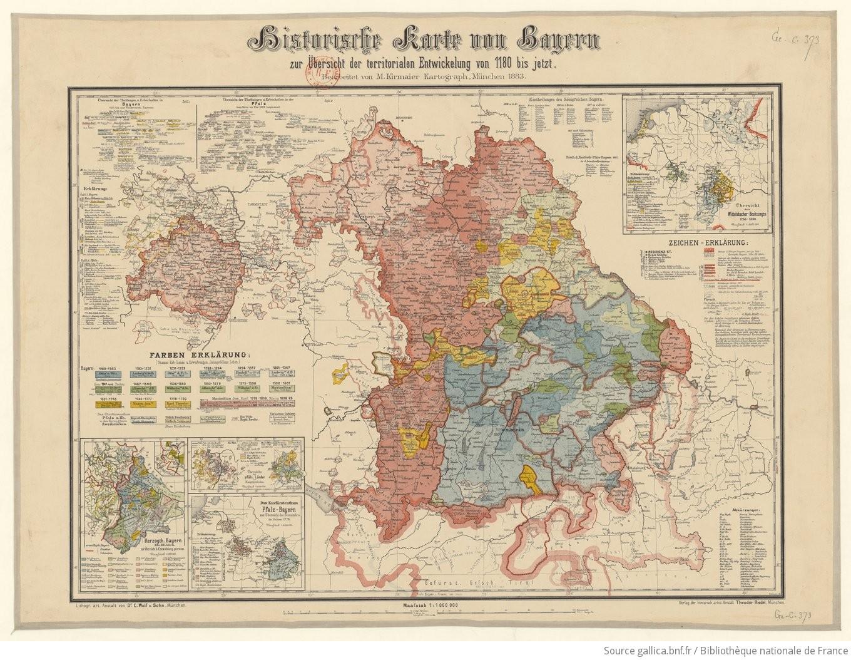 Karte Bayern.Historische Karte Von Bayern Zur Uebersicht Der Territorialen