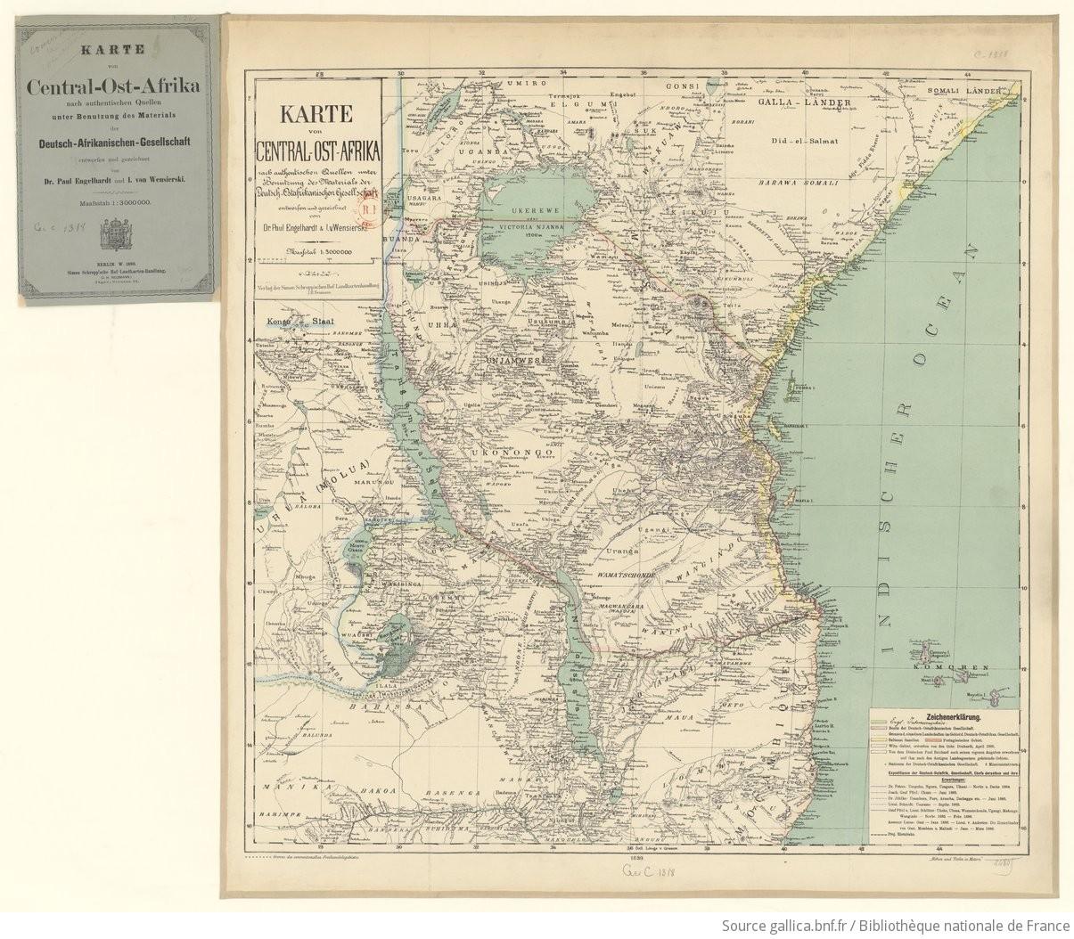 Afrika Karte Deutsch.Karte Von Central Ost Afrika Nach Authentischen Quellen Unter