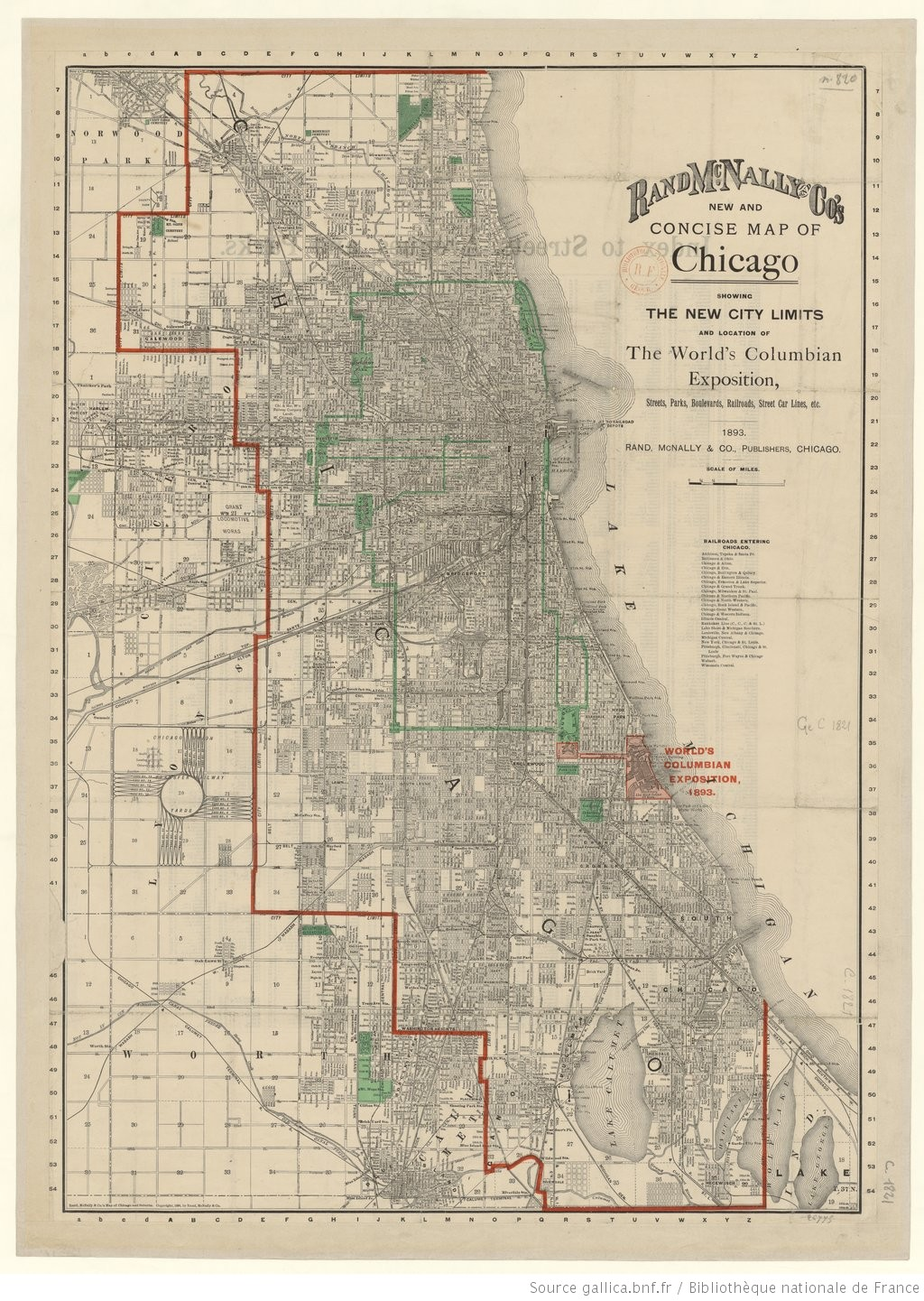 Rand, Mc Nally and Co's new and concise Map of Chicago, showing the on