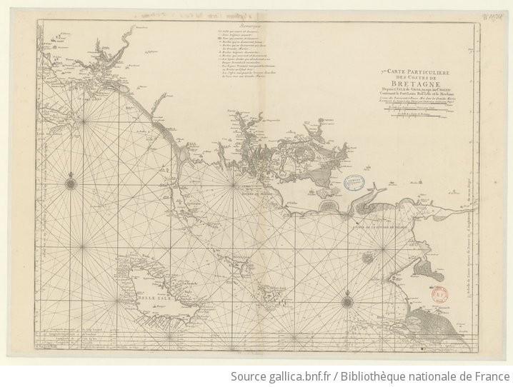 7me. carte particuliere des costes de Bretagne depuis l'Isle de Groa jusqu'au Croisic contenant le Port Loüis Bell'Islle et le Morbian comme elles paroissent à Basse Mer dans les grandes marées |