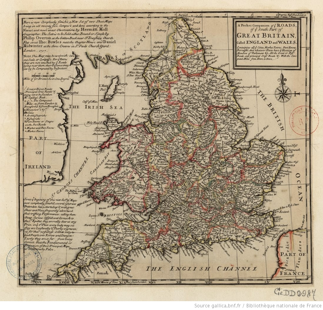 Road Map Of England And Wales With Towns.A Pocket Companion Of Ye Roads Of Ye South Part Of Great Britain