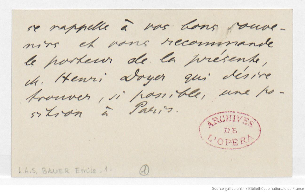 Carte De Visite DEmile Bauer Charles Malherbe Manuscrit Autographe