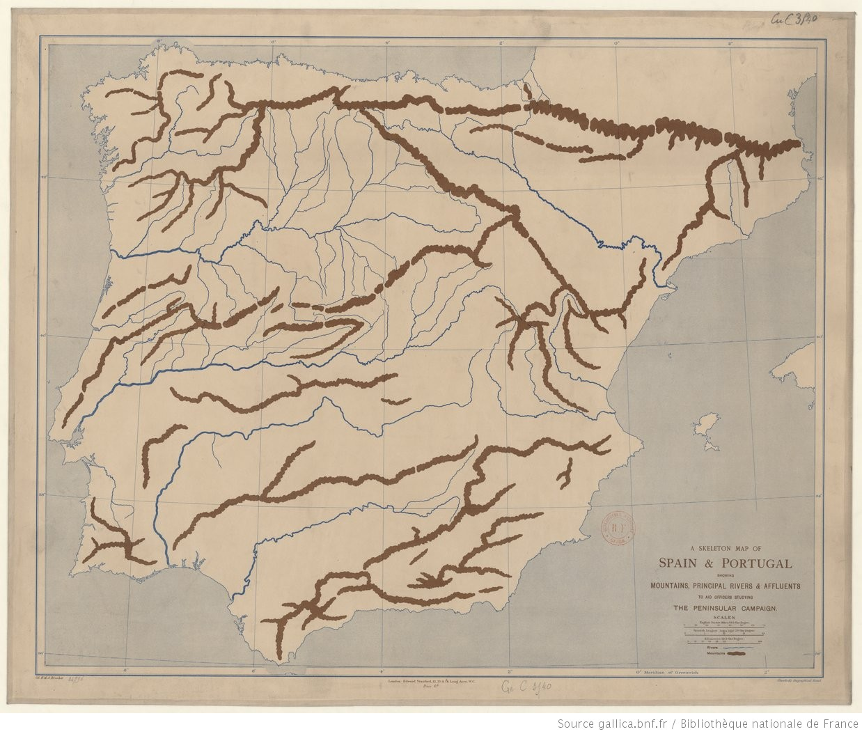 Map Of Spain Rivers.A Skeleton Map Of Spain And Portugal Showing Mountains Principal