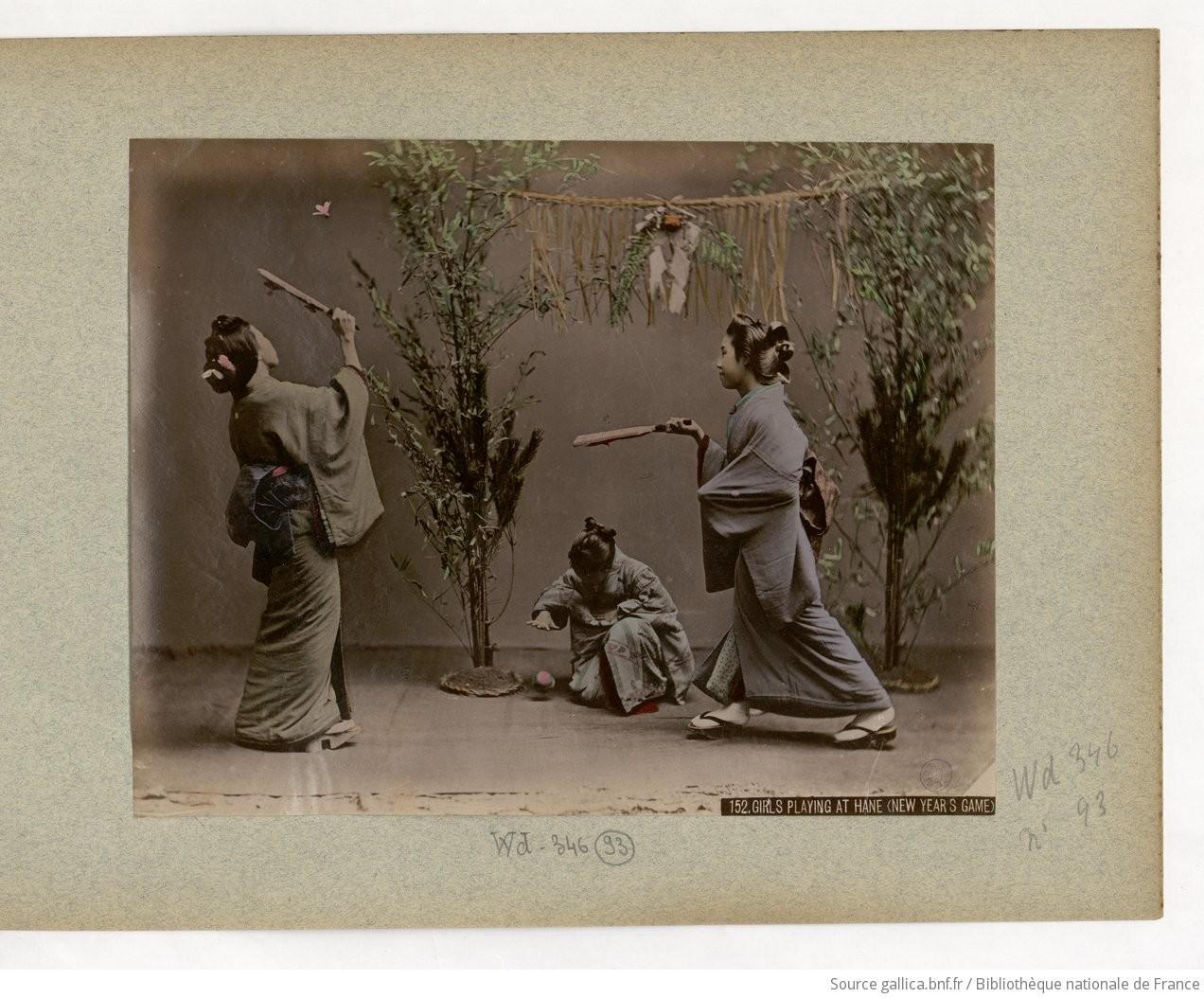 Fig. 93. 152. Girls playing at hane (new year s game) / Kinbei Kusakabe;