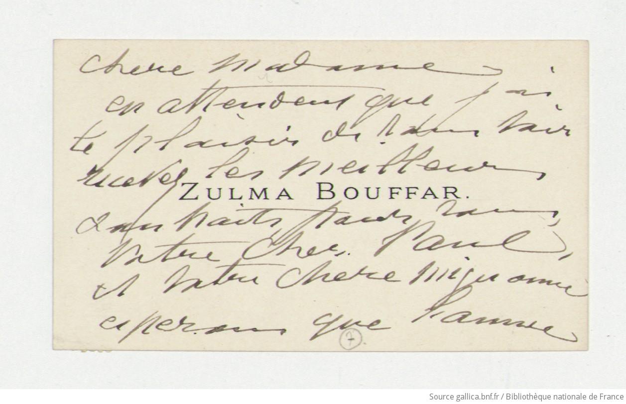 Carte De Visite Zulma Bouffar Manuscrit Autographe