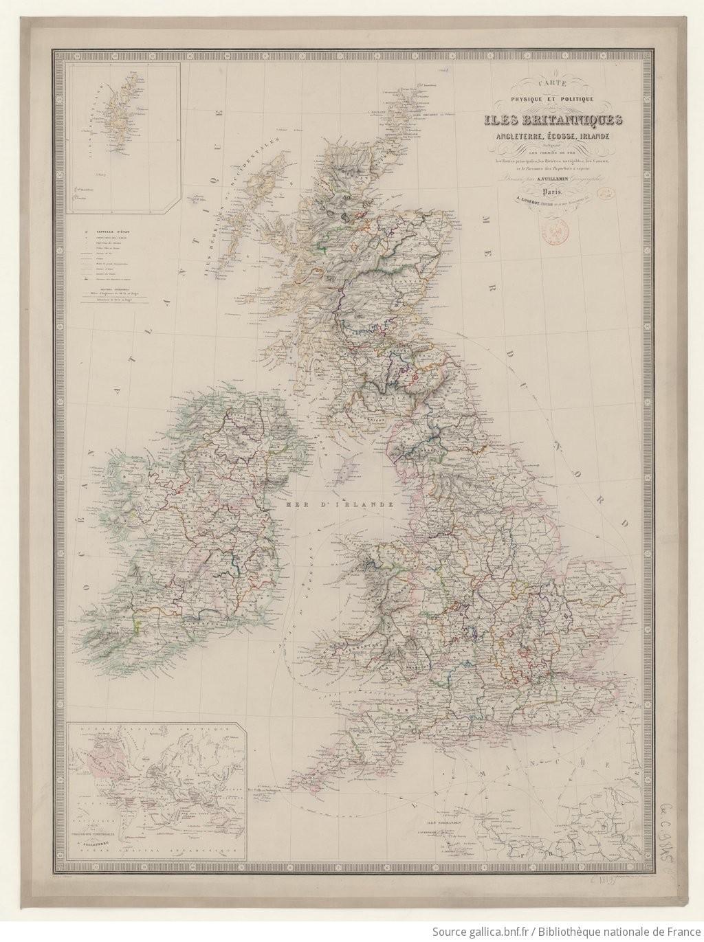 Carte Angleterre Ecosse.Carte Physique Et Politique Des Iles Britanniques Angleterre Ecosse