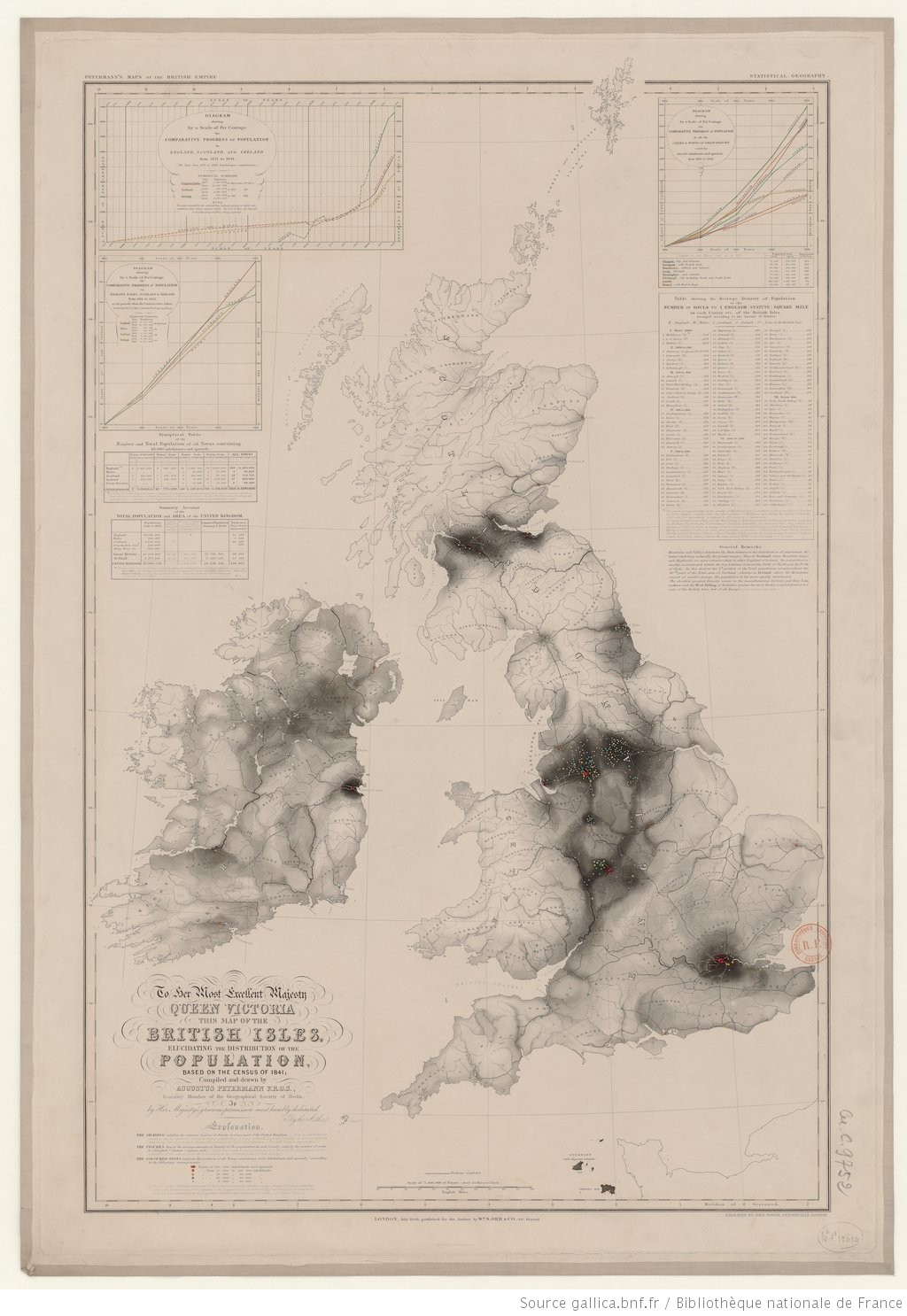 Petermanns Maps of the British Empire. Statistical Geography. To Her Most Excellent Majesty Queen Victoria, This Map of the British Isles elucidating the Distribution of the Population based of the Census of 1841 / compiled and drawn by Augustus Petermann, .. . is... dedicated By The Author