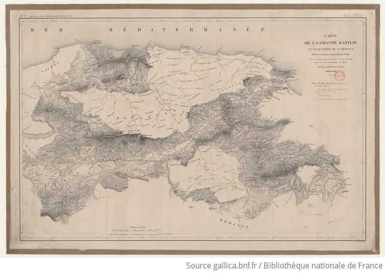 Carte Kabylie Detaillee.Carte De La Grande Kabylie Et D Une Partie De La Medjana