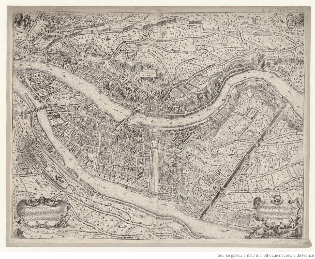 Carte de l'Ancienne Ville de Lyon. Cette carte représente la ville