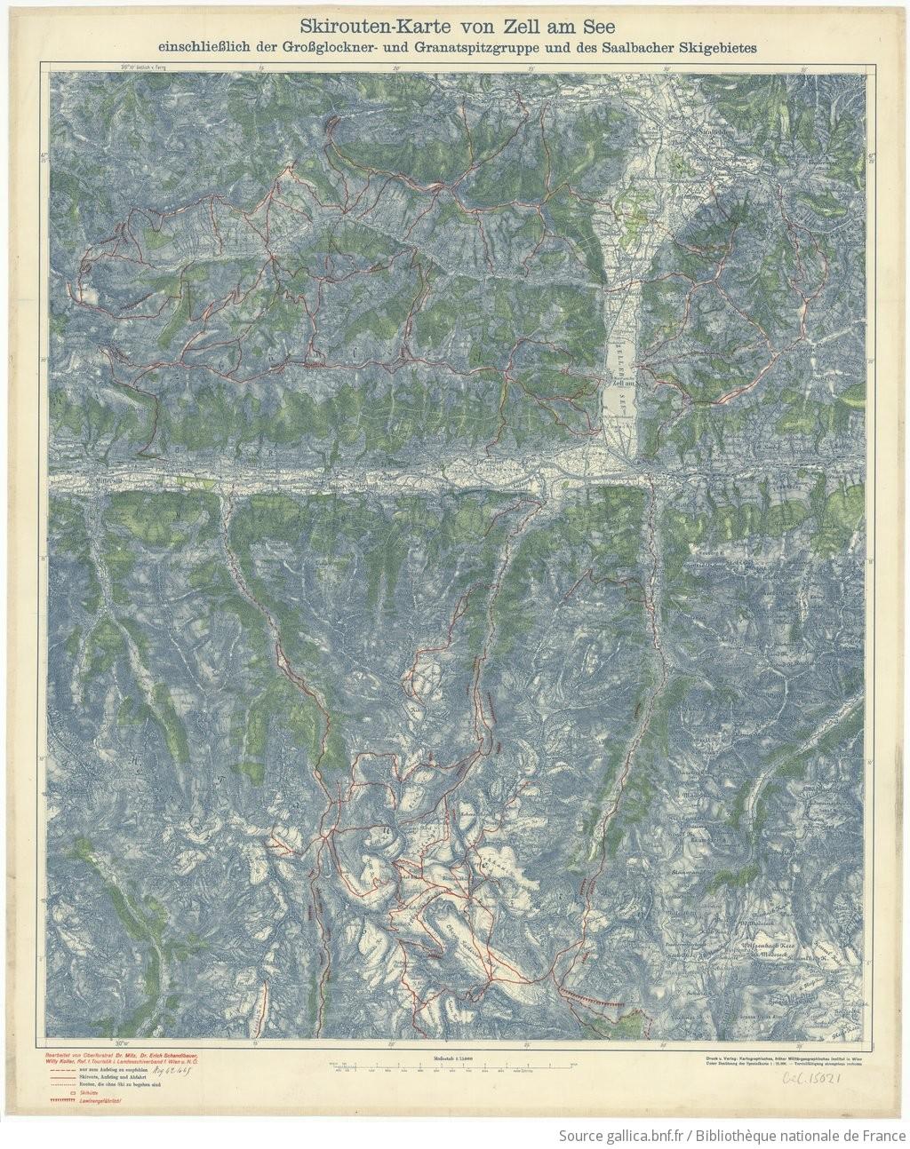 Großglockner Karte.Skirouten Karte Von Zell Am See Einschliesslich Der Grossglockner