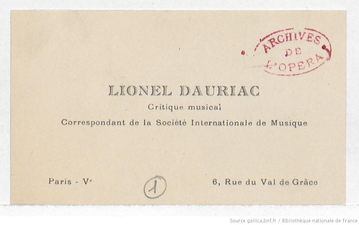 Carte De Visite Lionel Dauriac Charles Malherbe Manuscrit Autographe
