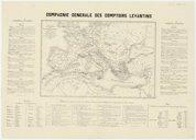 Carte du bassin de la Méditerranée indiquant les services à vapeur de chaque nation [...] annotée de statistiques commerciales sur les comptoirs levantins  Mr. Subtil. 1850