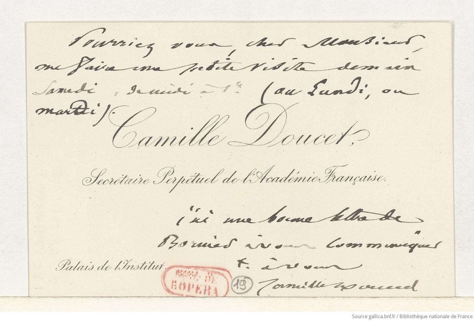 Carte De Visite Camille Doucet Charles Lefebvre Sans Date Manuscrit Autographe