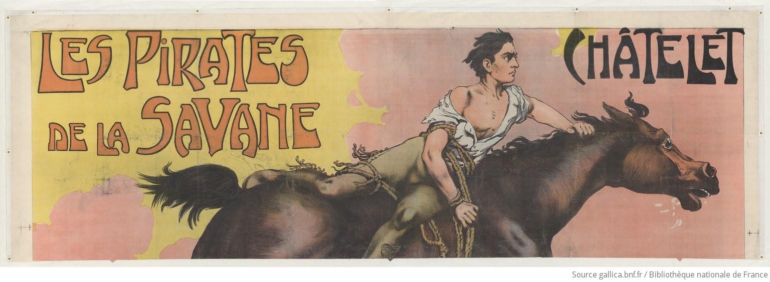 Les pirates de la savane. Mlle Rita del Erido... : [affiche] / lithographie de Vincent Lorant-Heilbronn