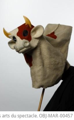 Fonds Georges Lafaye. III. Spectacles de marionnettes. Beaucoup de bruit pour rien (1949, Lafaye) : marionnettes. Marionnettes du spectacle. La vache