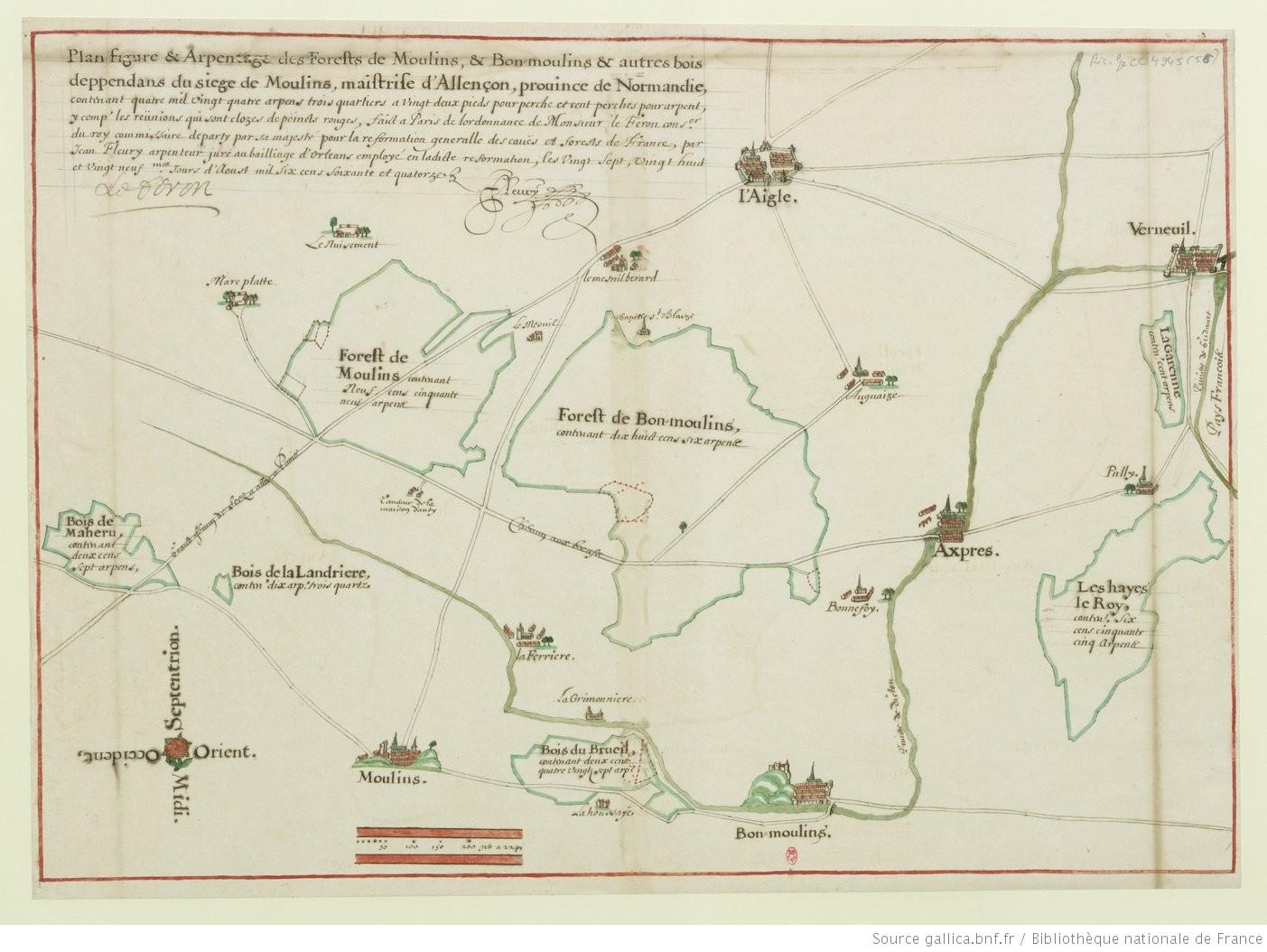 Plan figure et arpentage des forests de moulins et bon for Plan de moulins