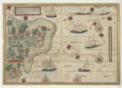 Atlas nautique du Monde, dit atlas Miller. Feuille 5 r° : Océan Atlantique Sud-Ouest avec le Brésil  1519