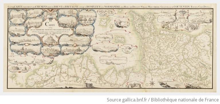 III Carte de la troisieme tournée militaire de Mr le Mqs de Paulmy dans les provinces maritimes occidentales de la France : Normandie & Bretagne |