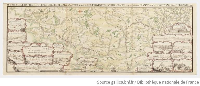 IIe Carte de la troisieme tournée militaire de Mr. le Mqs de Paulmy dans les provinces occidentales et maritimes de France scavoir la Bretagne et la Normandie  