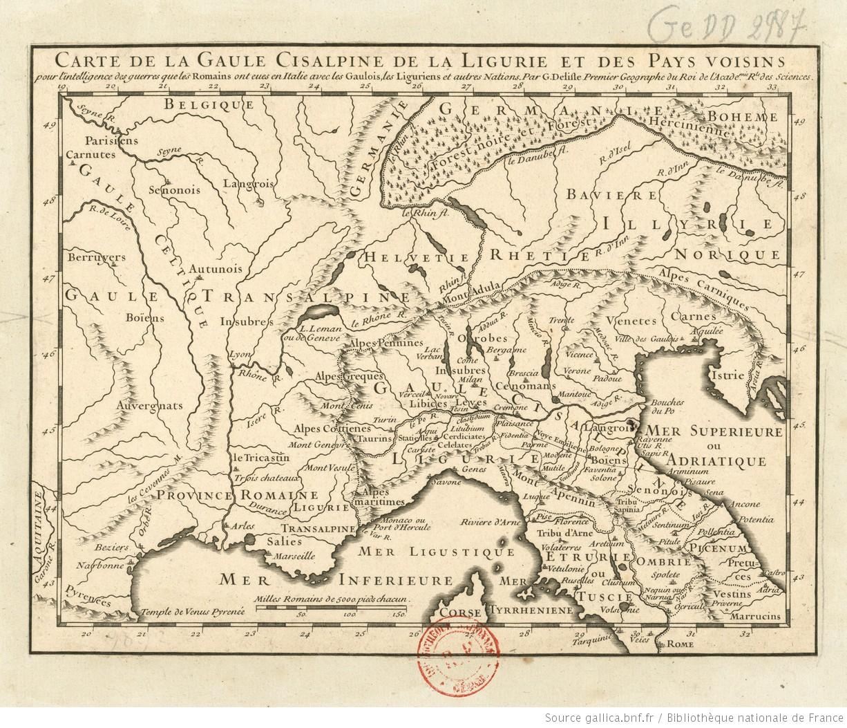 Carte Italie Ligurie.Carte De La Gaule Cisalpine De La Ligurie Et Des Pays Voisins Pour