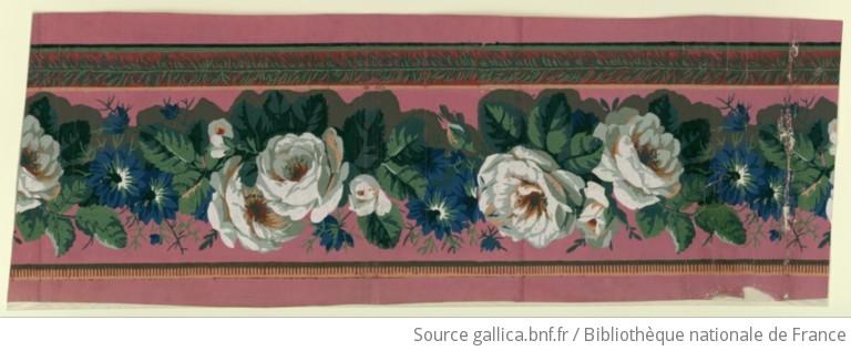 Manufacture duserre et cie bordure une bande de large frise principale de fleurs au naturel - Frise papier peint chantemur ...