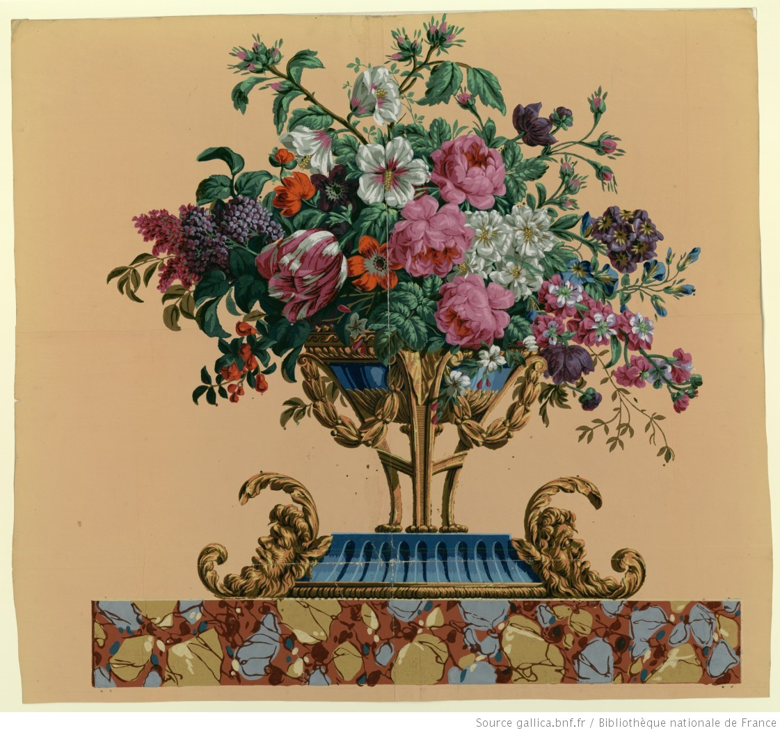 manufacture hartmann risler et cie dessus de porte coupe remplie de fleurs papier peint. Black Bedroom Furniture Sets. Home Design Ideas