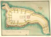 Plan du fort de Roscof et des corps de garde et magasin, signé par M. de Vauban, 15 octobre 1694 : [dessin]