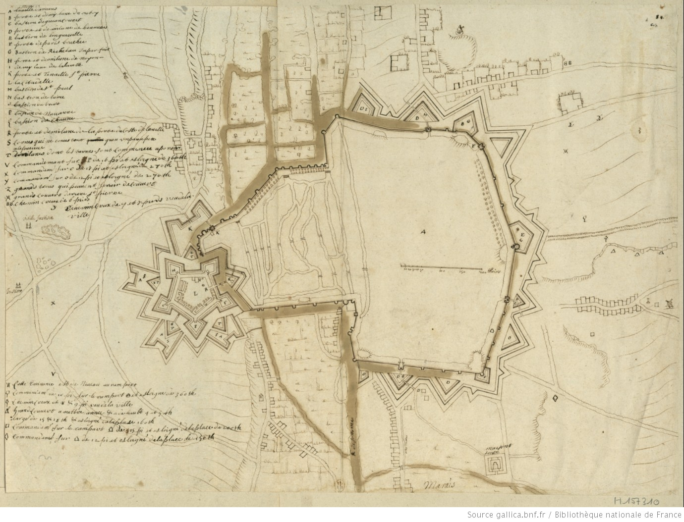Plan de la ville d 39 amiens avec ses fortifications au for Plan d amiens
