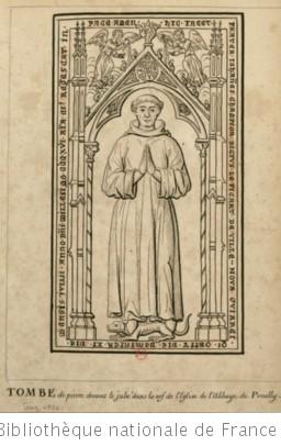 [Pierre tombale sur laquelle est gravée l effigie d un moine dans un encadrement gothique] : [dessin]