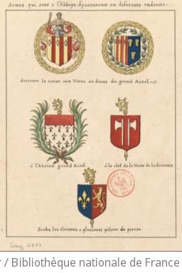 [Armoiries diverses peintes sur des vitraux, des clefs de voûte et des autels de l abbaye d Hyverneaux] : [dessin]