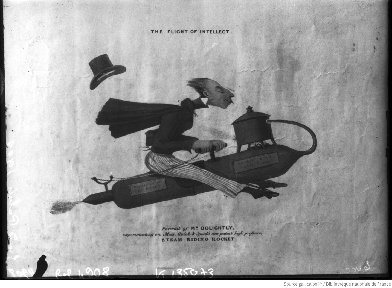 Grand Palais 1909 [25 septembre, Salon de l'aéronautique : gravure représentant une fusée chevauchée par un étrange personnage symbolisant l'essor de l'intelligence] : [photographie de presse] / [Agence Rol] - 1