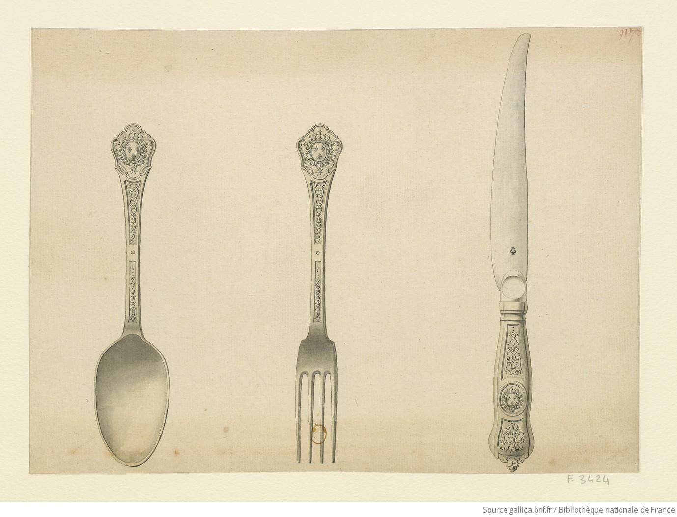 [Cuiller, fourchette et couteau du Roi] : [dessin] / [Nicolas Delaunay] - 1