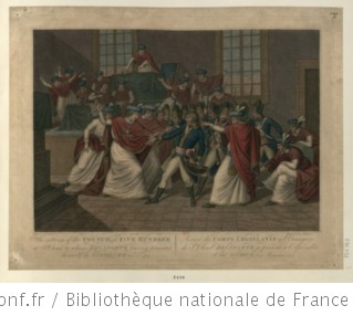 The sitting of the Council of Five Hundred, at S.t Cloud to whom Bonaparte having presented himself he dissolved Nov.r 10.th 1799 : [estampe] / F. Vieira Portuensis inv. ; Engraved by Alipran.