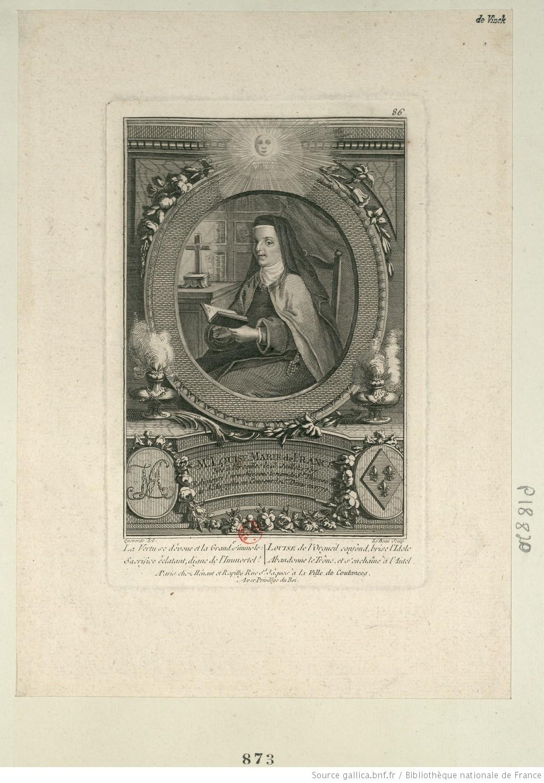 M.e Louise Marie de France : Née à Versailles le 13 Juillet 1737 religieuse Carmelite sous le nom de S.r Thérèse de S.t Augustin au Couvent de S.t Denis en 1770 : [estampe] / Queverdo del. ; Le Beau Sculp. - 1