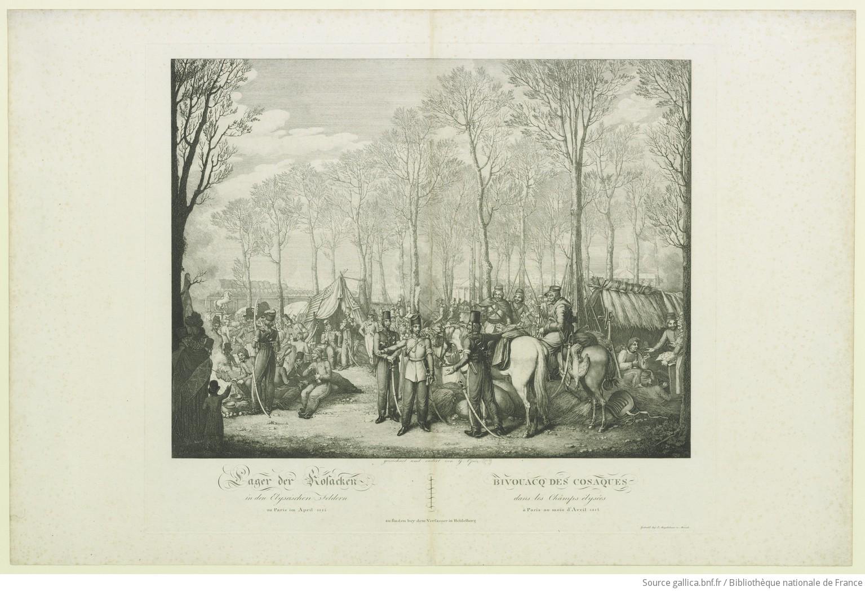 Bivouacq des Cosaques dans les champs Élysées à Paris au mois d'avril 1814 : [estampe] - 1