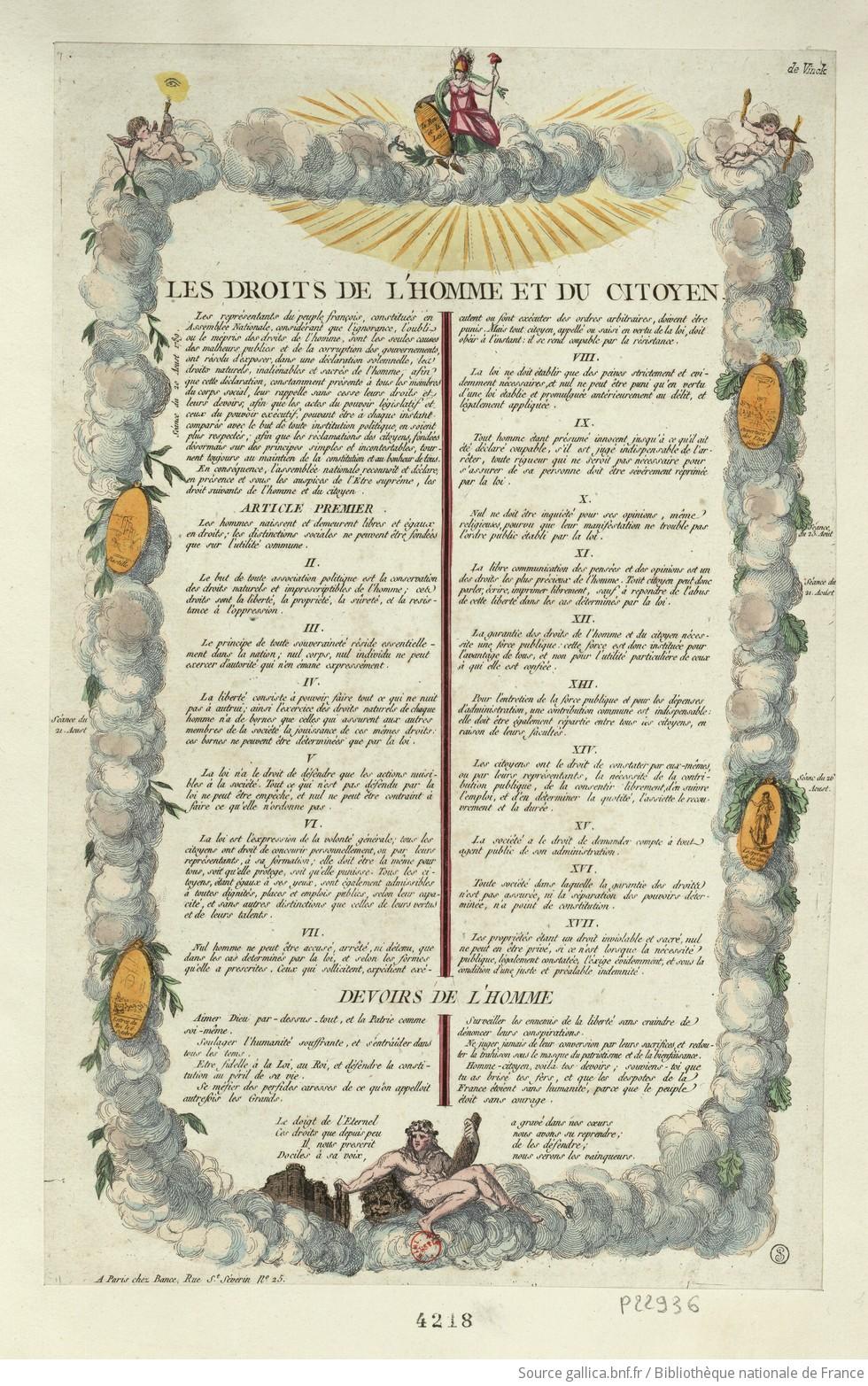 Les Droits de l'homme et du citoyen : [estampe] / [non identifié] - 1