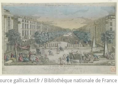 La peste de Marseille - Vue du côté du Cours - Dessinée sur le Lieu en 1720. N°143 : [estampe]