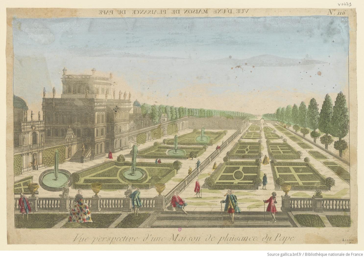 Vue perspective d'une Maison de plaisance du Pape aux environs de Rome. N° 116 : [estampe]