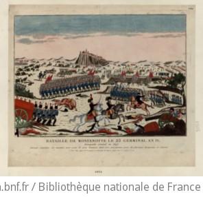 Bataille de Montenotte le 23 germinal an IV : Bonaparte Général en Chef. Déroute complette des ennemis, avec perte de 4000 hommes dont 2500 prisonniers, prise de plusieurs Drapeaux et Canons : [estampe] / [non identifié]