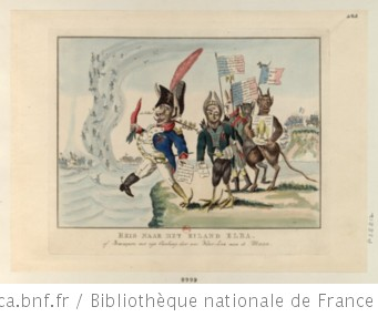 Reis naar het eiland Elba. of Bonaparte met zijn Aanhang, door eene Water-hoos naar de Maan : [estampe]