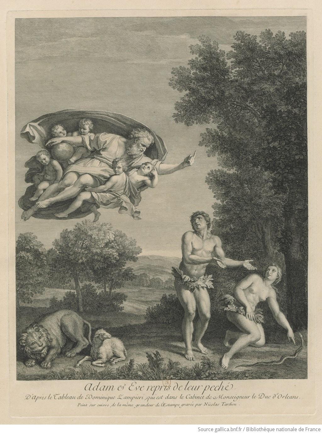Adam et Eve repris de leur peché. // D'Après le Tableau de Dominique Zampieri, qui est dans le ...