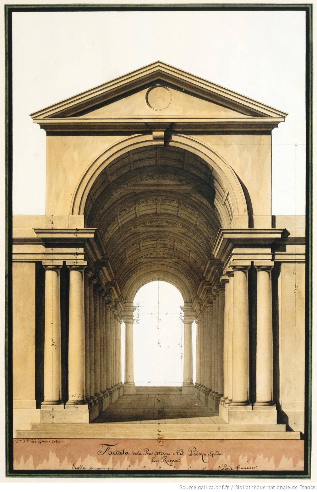Faciata dela prospetiva nel Palazo [sic] Spada in Roma : [dessin] / Jn Jques Le Queu delin. - 1