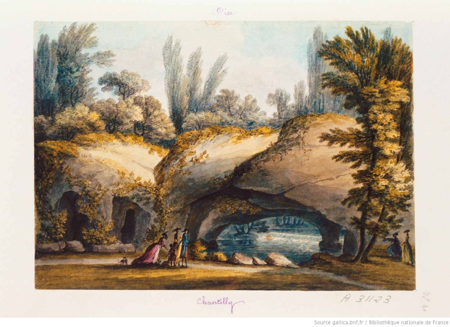 Chantilly vue de la grotte du jardin anglais dessin for Jardin anglais definition