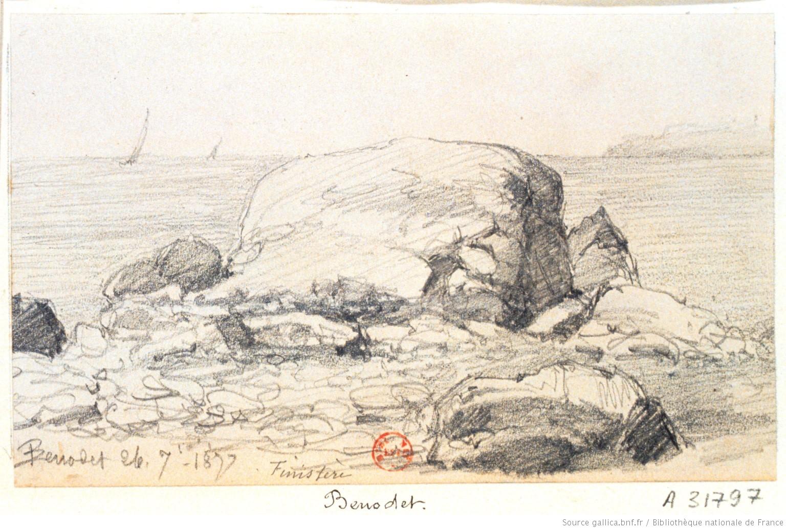 Benodet rochers au bord de la mer dessin - Dessin rocher ...