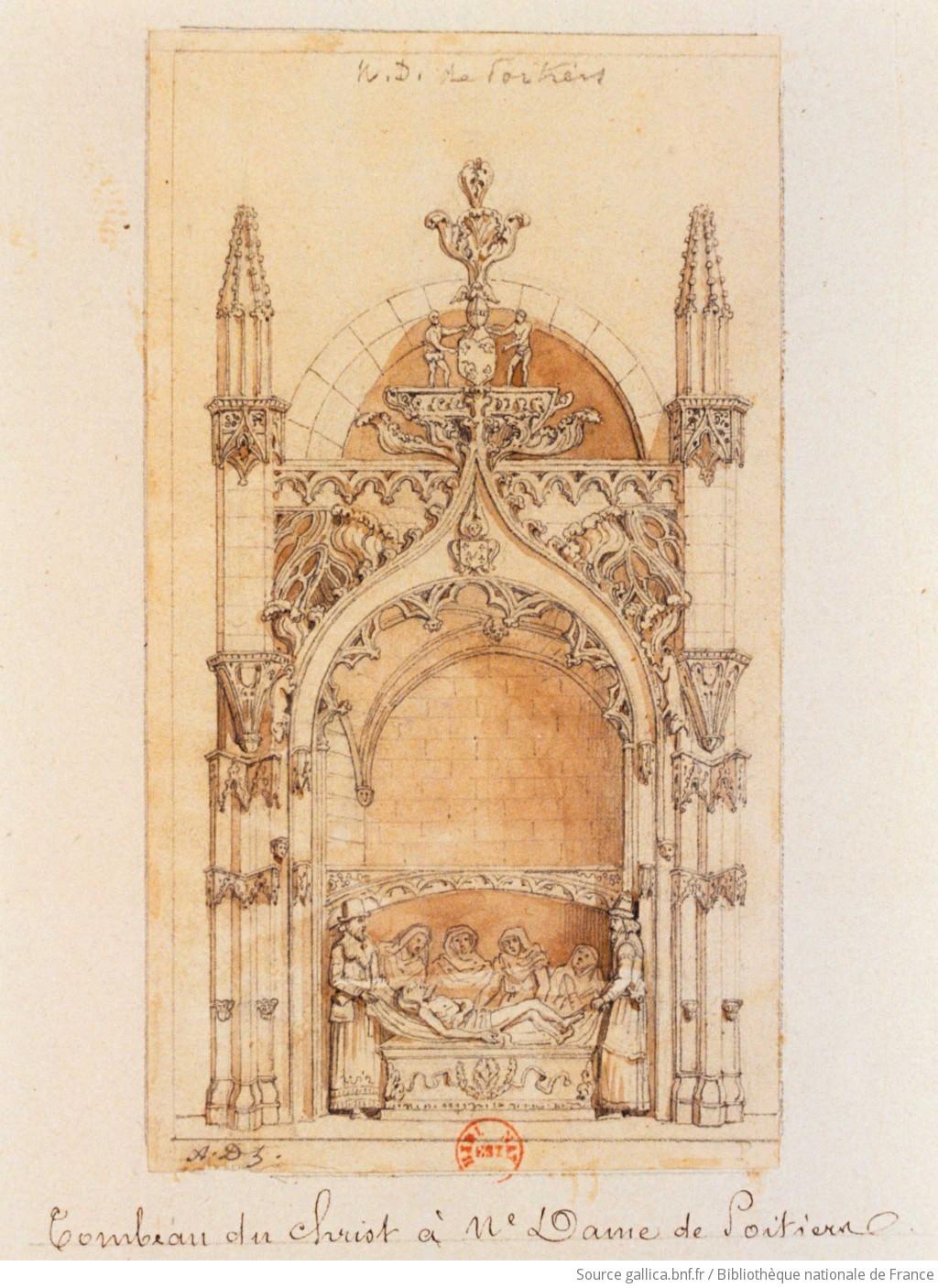 [Mise au tombeau du Christ à Notre-Dame de Poitiers] : [dessin] / A. Dts [Adrien Dauzats] - 1