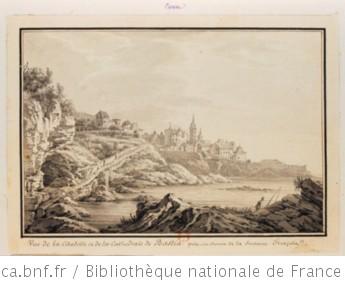 Vue de la Citadelle et de la Cathédrale de Bastia prise du chemin de la Fontaine Ficajola : [dessin] / [J. Daubigny]