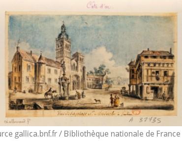 Vue de la place S.t Andoche à Saulieu : [dessin] / LA. [Jean Baptiste Lallemand]