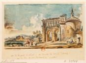 Vue de la porte St andré - et du reste du temple d hercule, vue de loin de la pierre de Couard a autun : [dessin] / Lallemand ft